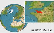 Satellite Location Map of Basse-Normandie