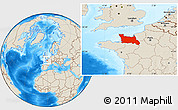 Shaded Relief Location Map of Basse-Normandie