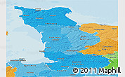 Political Shades Panoramic Map of Manche