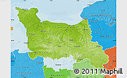 Physical Map of Basse-Normandie, political shades outside