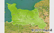 Physical Map of Basse-Normandie, satellite outside