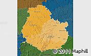 Political Shades Map of Côte-d'Or, darken