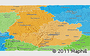 Political Shades Panoramic Map of Côte-d'Or