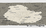 Shaded Relief Panoramic Map of Côte-d'Or, darken