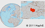 Gray Location Map of Bourgogne