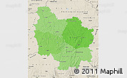 Political Shades Map of Bourgogne, shaded relief outside