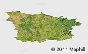 Satellite Panoramic Map of Nievre, single color outside