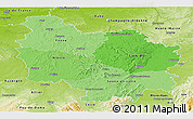 Political Shades Panoramic Map of Bourgogne, physical outside