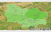 Political Shades Panoramic Map of Bourgogne, satellite outside