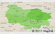 Political Shades Panoramic Map of Bourgogne, shaded relief outside