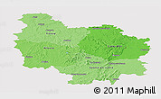 Political Shades Panoramic Map of Bourgogne, single color outside