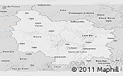 Silver Style Panoramic Map of Bourgogne