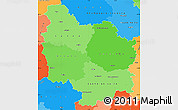 Political Shades Simple Map of Bourgogne