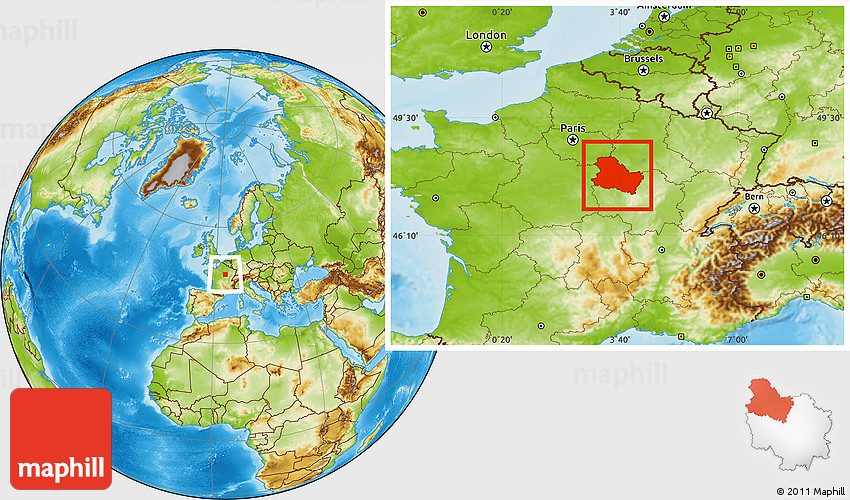 Map Of Yonne France.Physical Location Map Of Yonne