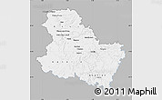 Gray Map of Yonne, single color outside