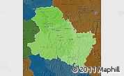 Political Shades Map of Yonne, darken