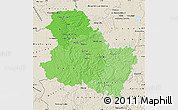 Political Shades Map of Yonne, shaded relief outside