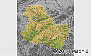 Satellite Map of Yonne, desaturated
