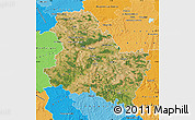 Satellite Map of Yonne, political shades outside