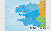 Political Shades Map of Finistere