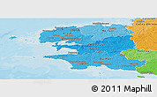 Political Shades Panoramic Map of Finistere