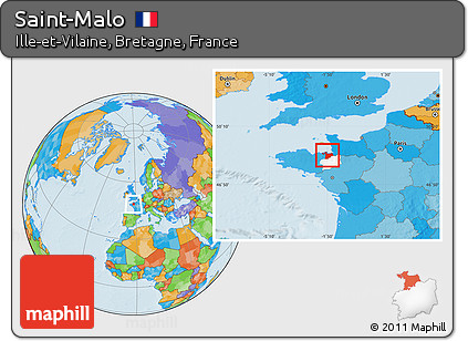 Free Political Location Map of SaintMalo highlighted parent region
