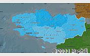 Political Shades Map of Bretagne, darken