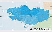 Political Shades Map of Bretagne, lighten