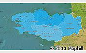 Political Shades Map of Bretagne, satellite outside