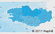 Political Shades Map of Bretagne, single color outside