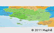 Political Shades Panoramic Map of Morbihan