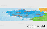 Political Shades Panoramic Map of Bretagne