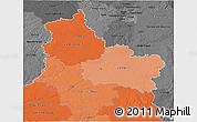 Political Shades 3D Map of Centre, darken, desaturated