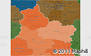 Political Shades 3D Map of Centre, darken