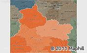 Political Shades 3D Map of Centre, darken, semi-desaturated