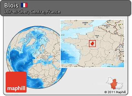 Free Shaded Relief Location Map of Blois