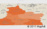 Political Shades Panoramic Map of Centre, shaded relief outside