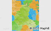 Physical 3D Map of Champagne-Ardenne, political outside