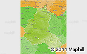 Physical 3D Map of Champagne-Ardenne, political shades outside