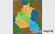 Political 3D Map of Champagne-Ardenne, darken