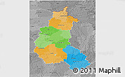 Political 3D Map of Champagne-Ardenne, desaturated