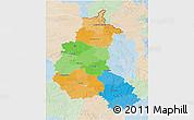 Political 3D Map of Champagne-Ardenne, lighten