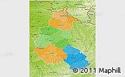 Political 3D Map of Champagne-Ardenne, physical outside