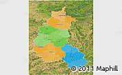 Political 3D Map of Champagne-Ardenne, satellite outside