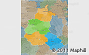 Political 3D Map of Champagne-Ardenne, semi-desaturated