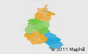 Political 3D Map of Champagne-Ardenne, single color outside