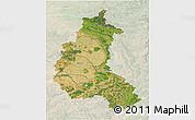 Satellite 3D Map of Champagne-Ardenne, lighten