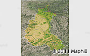 Satellite 3D Map of Champagne-Ardenne, semi-desaturated