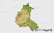Satellite 3D Map of Champagne-Ardenne, single color outside