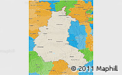 Shaded Relief 3D Map of Champagne-Ardenne, political outside